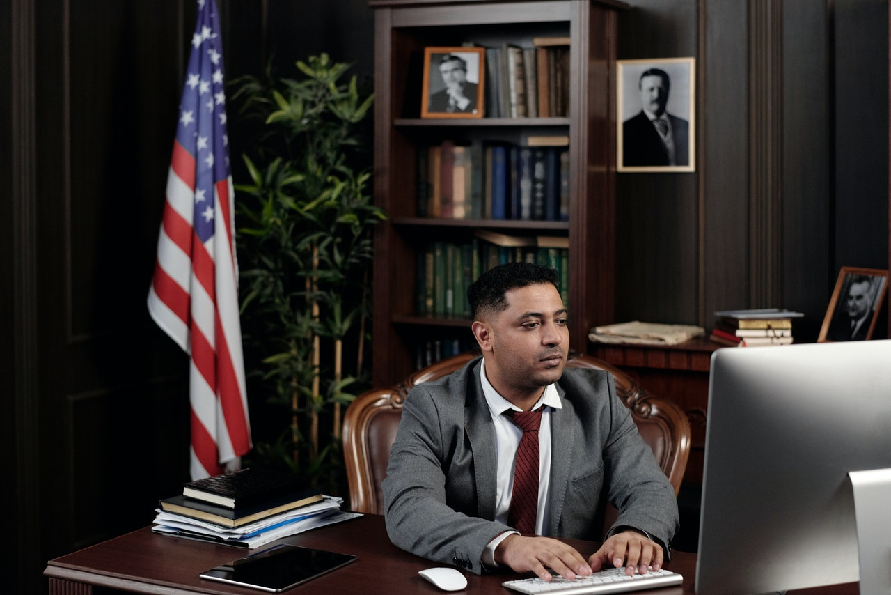 lawyer in his office